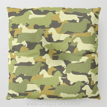Camo Dachshund Floor Pillow Round Square Long Dog Decorative Cover Fun Cushion Brown Green Moss Army Cream Mustard Camouflage Ocher Doxie