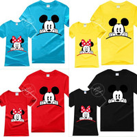 2016 Mickey Minnie Couples Matching Summer T Shirts Red Yellow Blue Plus Size Lovers Girlfriend Lovely Tees Gift 0198