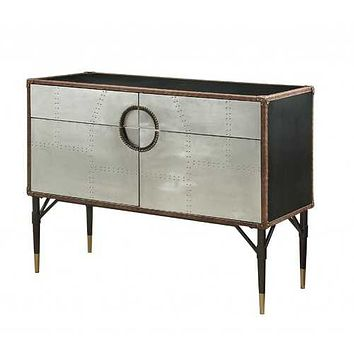 """52"""" X 21"""" X 40"""" Brown Top Grain Leather And Aluminum Console Table"""