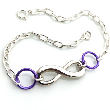 Infinity Bracelet, Friendship, Silver Infinity, Purple, Love, Friend, Adjustable