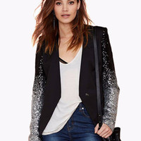 Black Long Sleeve Sequined Cardigan with Back Slit