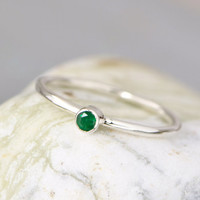 Emerald Ring - May Birthstone Ring -  Green Gemstone Ring - Stacker Ring - Green Ring - Emerald Jewelry