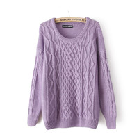 Candy color twist round collar Fresh  pullovers