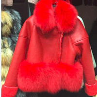 ADD WISH LIST  Luxury original Genuine Sheepskin Leather jackets, celebrity brand real suede fur Coats  winter real fur coats