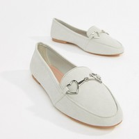 Accessorize heart trim loafer in grey at asos.com
