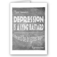 Depression lies cards from Zazzle.com