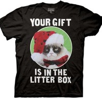 Grumpy Cat Your Gift Is In The Litter Box Men's Black T-shirt
