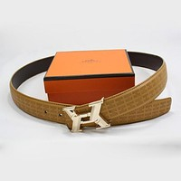 Hermes Men Woman Fashion Smooth Buckle Belt Leather Belt Tagre™
