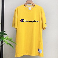 Champion New fashion embroidery letter couple top t-shirt Yellow