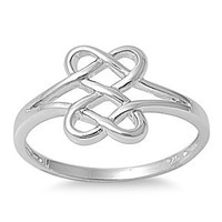 Hearts Infinity Fusion Ring Sterling Silver 925 (Sizes 4-13)