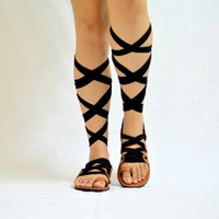 Black Gladiator Sandals, Leather Sandals, Handmade  - Choose Ribbon Laces from 12 colors - Customizable Sandals ALL SIZES - S N E H A