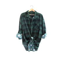 Vintage blue and green Plaid Flannel / Grunge Shirt / cotton button up shirt