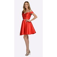 Red Off Shoulder A-Line Short Homecoming Dress