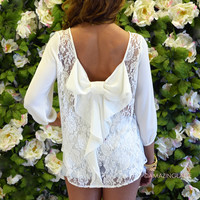Kitty Hawk Ivory Lace Bow Back Top