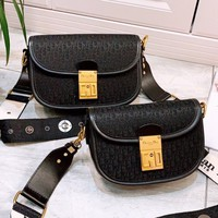 DIOR fashion hot selling canvas embroidered gold button casual lady slant across a shoulder bag