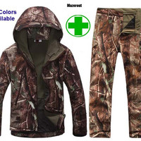 TAD Gear Tactical Soft Shell Camouflage Outdoor Jacket Set Men Army Sport Waterproof Hunting Set Military Jacket + Pant S1