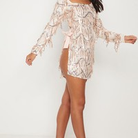 Nude Extreme Open Back Sequin Bodycon Dress