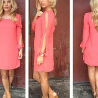 Coral Open Sleeve Dress with Bead Neckline & Cutout Back