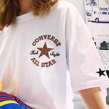 Converse Tide brand rainbow line embroidery logo loose round neck half sleeve T-shirt white