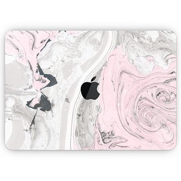 """Mixtured Pink and Gray Textured Marble - Skin Decal Wrap Kit Compatible with the Apple MacBook Pro, Pro with Touch Bar or Air (11"""", 12"""", 13"""", 15"""" & 16"""" - All Versions Available)"""