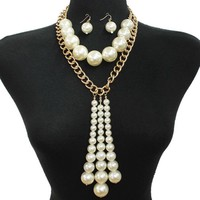 """15.50"""" gold chain cream faux pearl choker multi layered necklace 1"""" earrings 11"""" drop"""