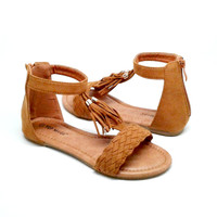 Faux Suede Sandal with Tassel Detail