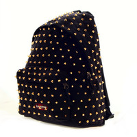 Studded Eastpak Backpack, Black Eastpak with Gold Cone Studs by CUSTOMDUO on ETSY
