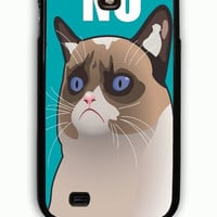 Samsung Galaxy S4 Case - Hard (PC) Cover with Cactus the Cranky Cat Plastic Case Design