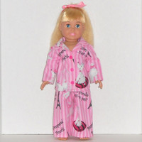 American Girl Doll Clothes Pink Pajamas Paris Poodles Striped Flannel