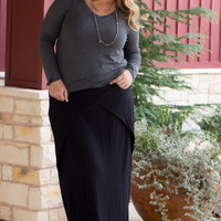 Simply Sophisticated Maxi Skirt With Fold Over Detail ~ Black ~ Sizes 12-18