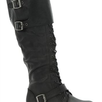Tall Combat Boots with Lace Up Front