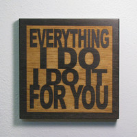 Wedding Gift - Bryan Adams - Everything I Do I Do It For You- JukeBlox Lyric Typography Art Tile - Any Color