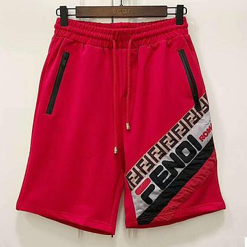 Fendi 2019 new color matching logo men and women casual sports shorts Red