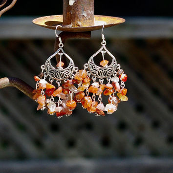 Carnelian Earrings ~ Orange Red Chip Stones ~ Tumbling Orange Stones ~ Statement Jewellery ~ Gift for Mom ~ Audacious Style ~ One of a Kind