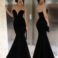 Black Deep -V Strapless Bodycon Fishtail Maxi Dress