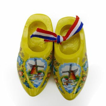 Dutch Wooden Clogs Deluxe Yellow
