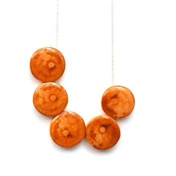 Natural wood statement necklace . statement jewelry Bubble necklace 5th anniversary gift . fall jewelry eco friendly jewelry starlightwoods