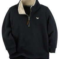 Half Zip-Up Fleece Sweater