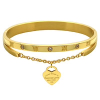 Luxury Jewelry Brand Pulseira Stainless Steel Bracelet & Bangle 18K Gold Plated Heart  Love Tag Bracelet Jewelry For Women