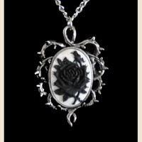 BLACK AND WHITE ROSE CAMEO GOTHIC NECKLACE