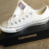 "Custom ""Pearled Out"" Chuck Taylor's! Women's beautiful handmade New Custom Wedding or Baptism"