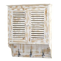 32 Inch Distressed White Washed Wall Cabinet with 3 Coat Hooks