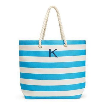 Extra Large Wide Stripe Cabana Tote - Sky Blue (Pack of 1)