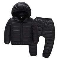 Winter Children Clothing Sets Boys Girls Hooded Cotton Jacket Trouser Baby Kids Solid Sports Suits Outwear