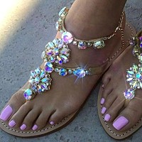 2021 Woman Silver Sandals Fashion Shoes Rhinestones Chains Thong Gladiator Flat Sandals Crystal Chaussure Plus Size 42 tennis