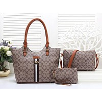 COACH Women Shopping Leather Handbag Tote Shoulder Bag Set Three Piece