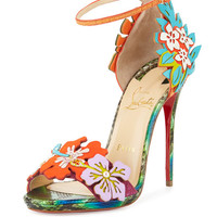 Christian Louboutin Ha Why Luna Red Sole Sandal, Multicolor