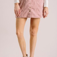 Kori Mauve Corduroy Button Skirt