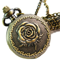 Analog SMALL POCKET WATCH Woman Necklace Women Blossom Open ROSE Gothic watch
