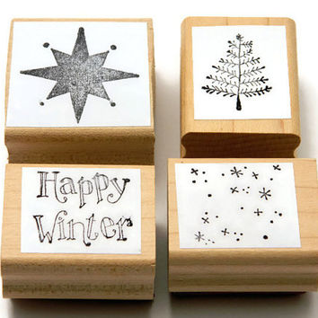 Christmas Stamps - Winter Holiday Stamp Set - Craft Rubber Stamps - Arts and Crafts - Stationery Supplies - Card Making Stamps - Paper Ink